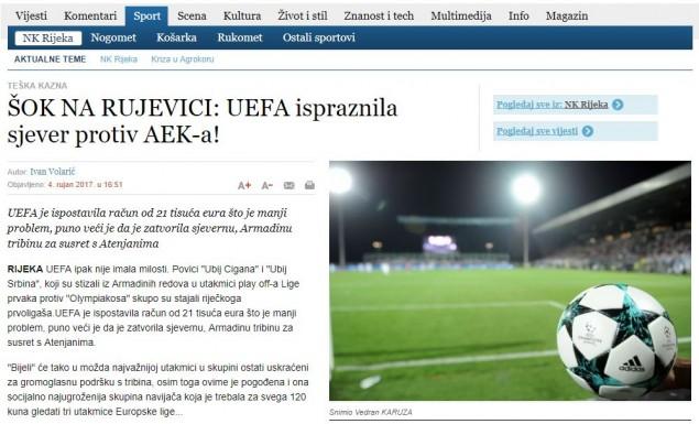 Καμπάνα της UEFA στη Ριέκα λόγω… Ολυμπιακού εν όψει ΑΕΚ!   Pagenews.gr
