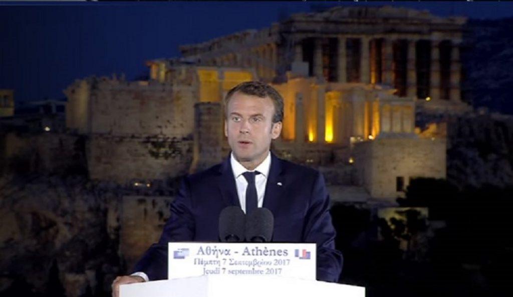 Ο Εμανουέλ Μακρόν μίλησε ελληνικά στην Πνύκα: Εδώ οι Αθηναίοι επινόησαν την Δημοκρατία | Pagenews.gr