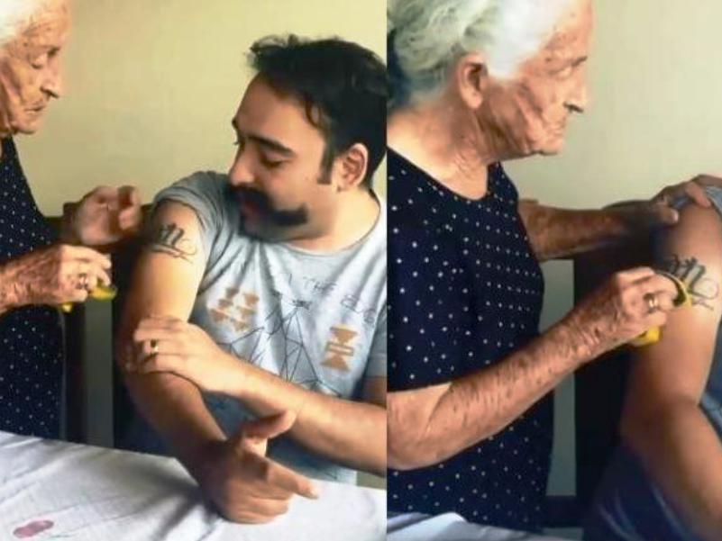 Γριούλα προσπαθεί να σβήσει το τατουάζ του γιου της με… σφουγγάρι (vid) | Pagenews.gr