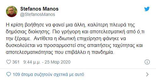 Ο Στέφανος Μάνος ανέβασε το tweet της χρονιάς