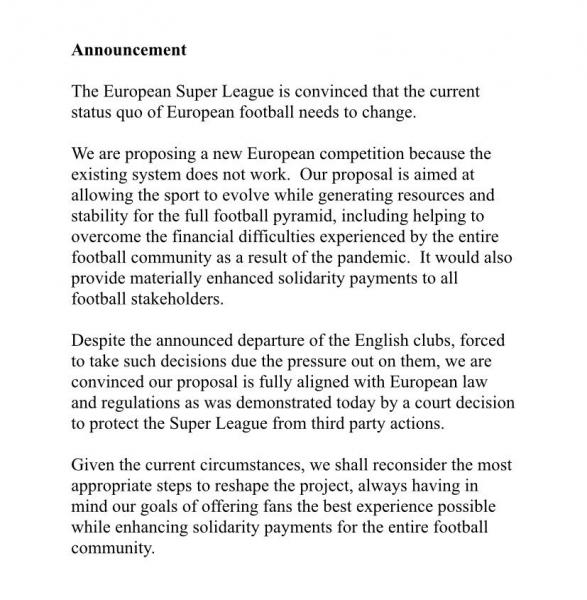 European Super League: Κατέληξε σε φιάσκο